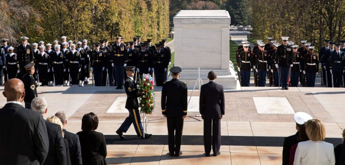 President Barack Obama Participates in a Wreath Laying Ceremony at the Tomb of the Unknown Soldier