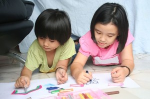 2 kids coloring at home