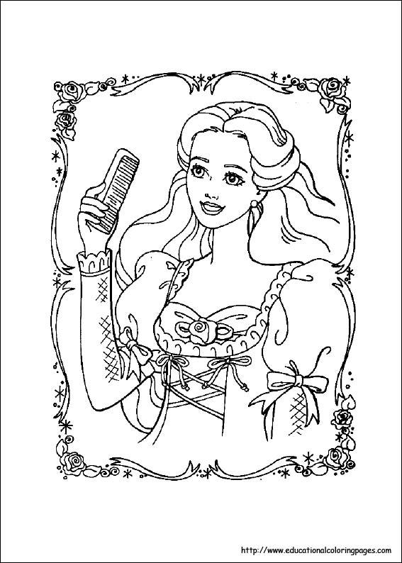 プリンセス バービーのぬりえ 無料テンプレート : バービー人形 塗り絵