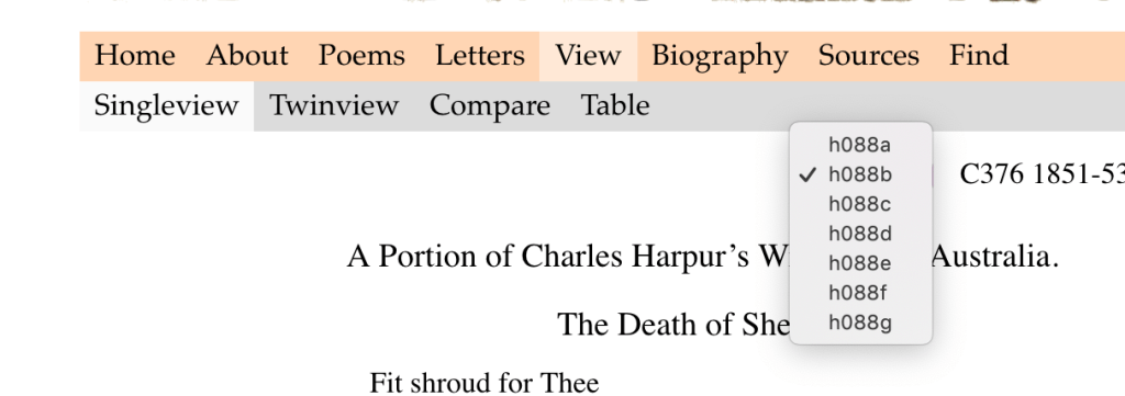 Website with multiple options to view Harpur's work