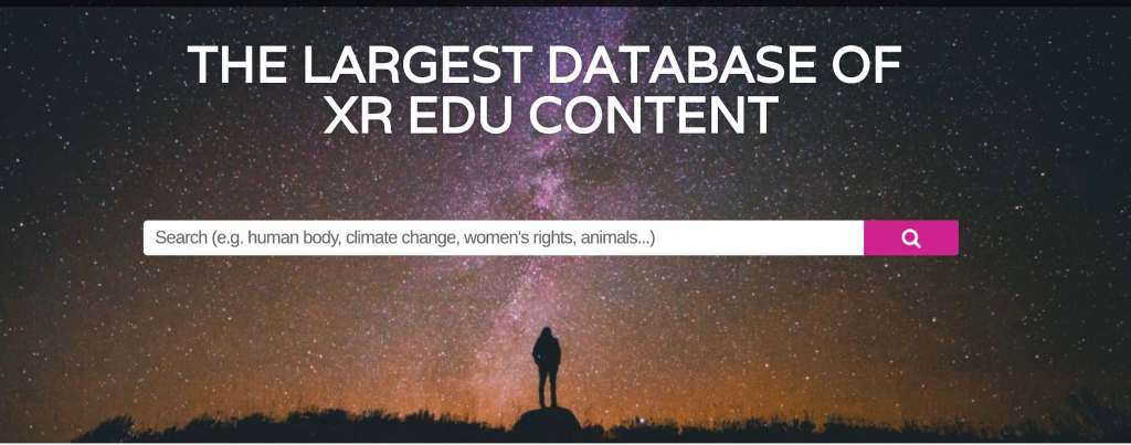 Screen shot from a website showing the search bar. The background has a silhouette of a person looking up at the night sky.