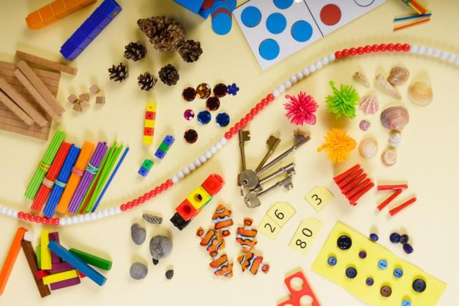 classroom objects for making numbers manipulatives