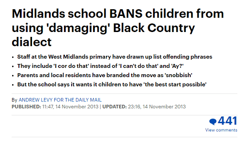 west midlands primary bans damaging dialect