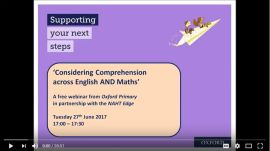 Considering Comprehension Across English and Maths webinar screen grab