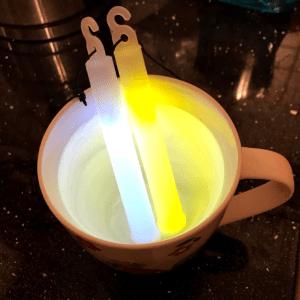 Photo of glow sticks in warm water