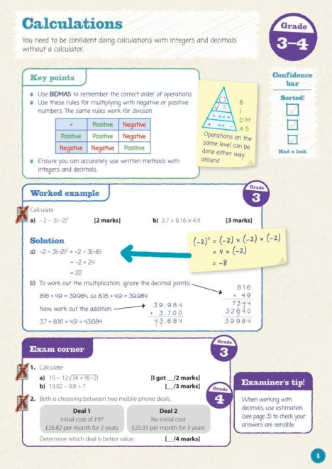 Mathematics textbook design in Oxford Revise GCSE Maths