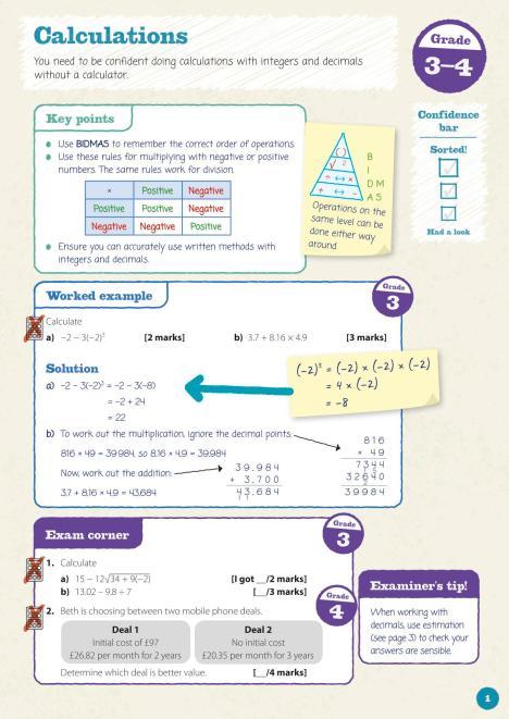 Mathematics textbook design in Oxford Revise GCSE Maths