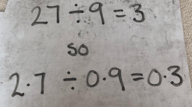 27/9 = 3 so 2.7/0.9 = 0.3