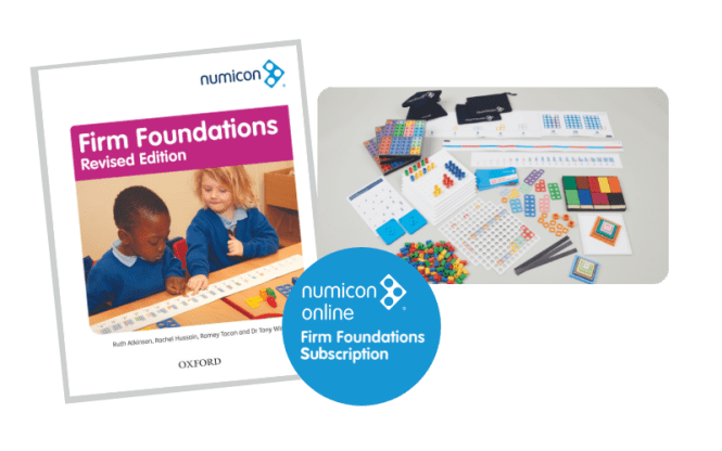 Numicon Firm Foundations Handbook cover, apparatus pack and online subscription logo