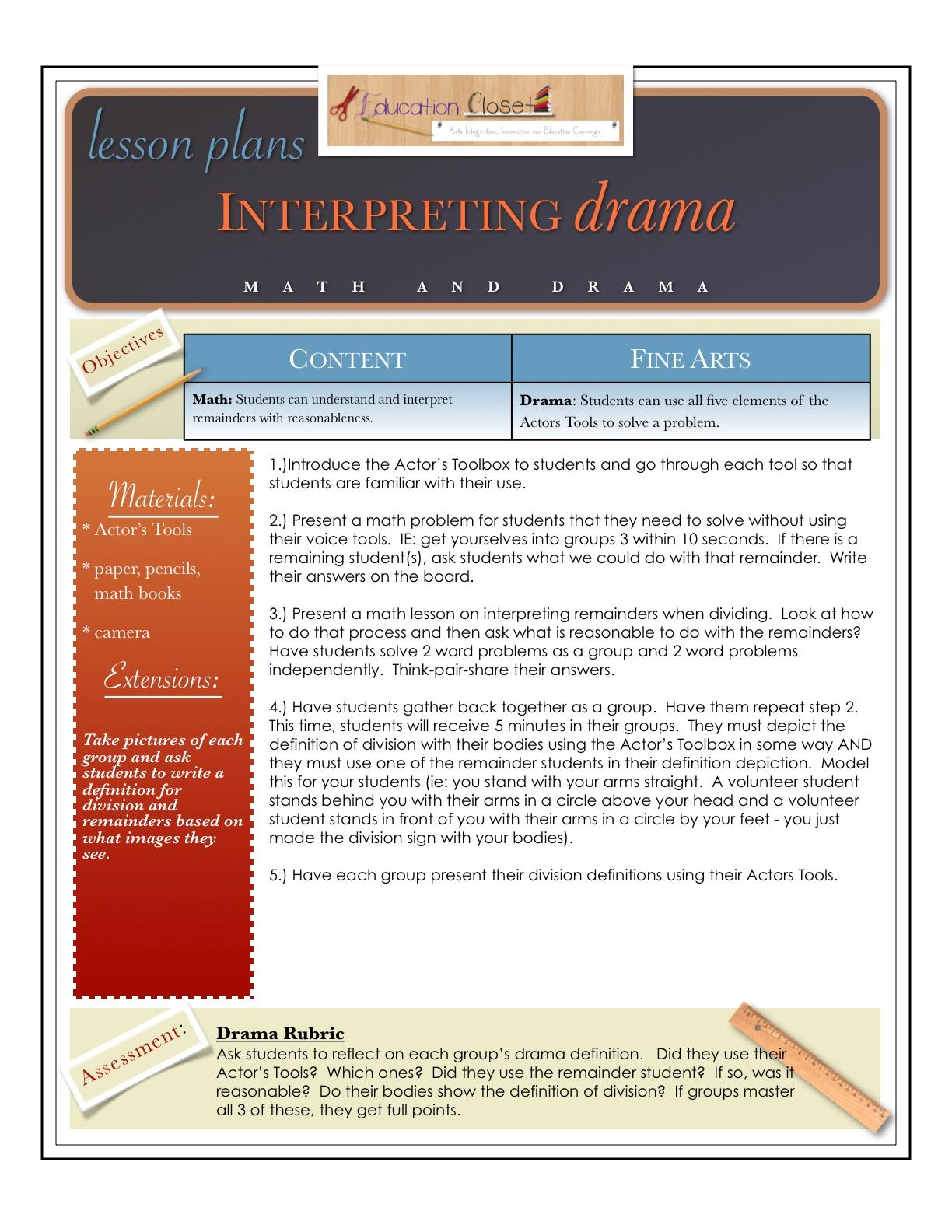 Drama And Math Lesson