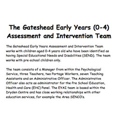 Gateshead Early Years Assessment and Intervention Team Brochure
