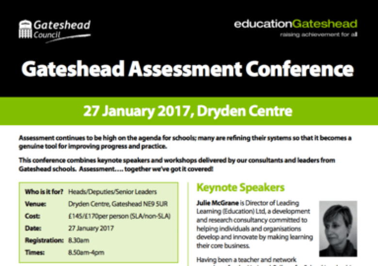 Don't Miss….Gateshead Assessment Conference – 27 January 2017