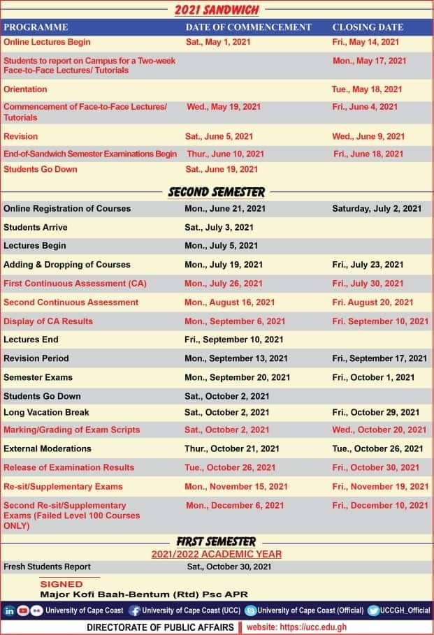 UCC releases official 2020/21 Academic Calendar 2