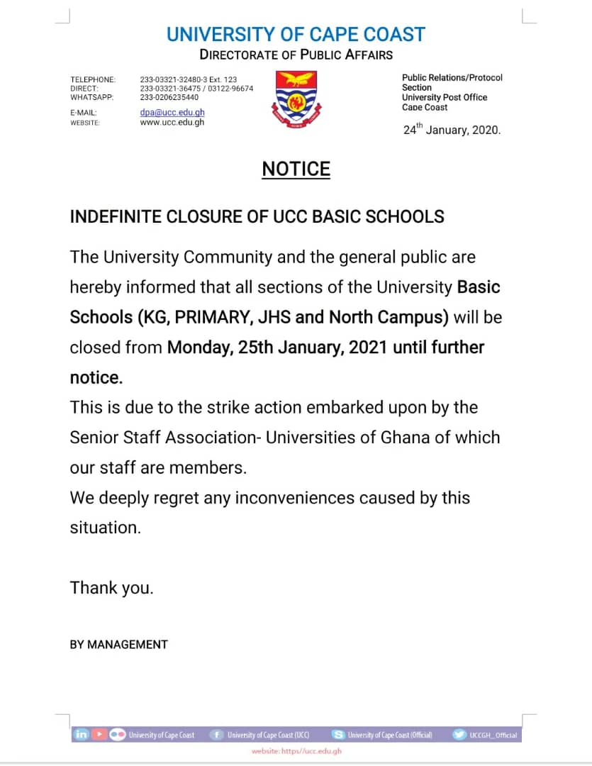 JUST IN: UCC Basic School closed down indefinitely 1