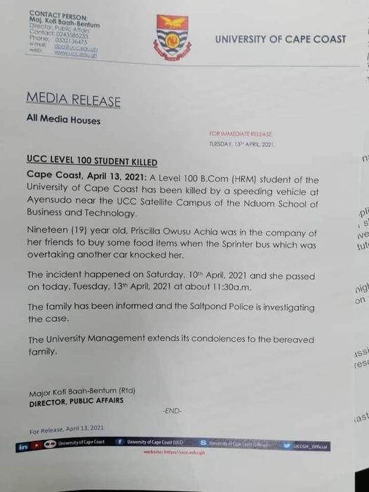 JUST IN: Speeding Vehicle kills UCC Level 100 Student 1