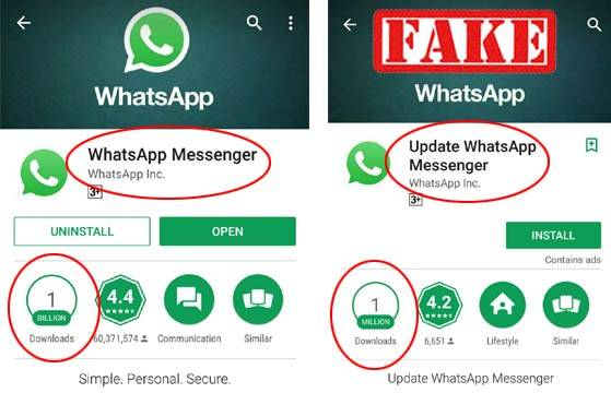 Downloading Whatsapp from Google Play Store is dangerous!
