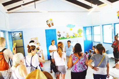 Singing songs with the children and teachers at the Las Terrazas daycare center.