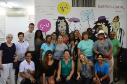 Group photo with Luisa Campos at the Literacy Campaign Museum.