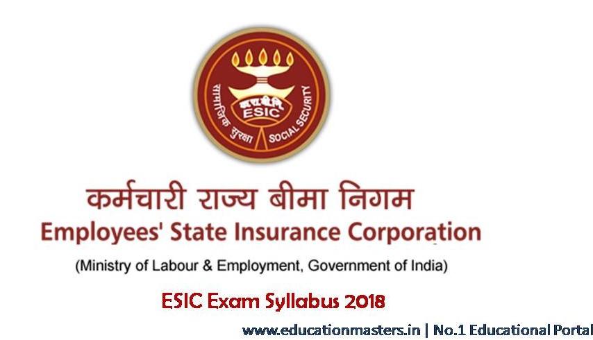 ESIC Syllabus 2018 | Exam pattern or ESIC Pharmacist, LDC