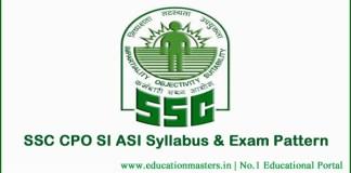SSC-CPO-SI-ASI-Syllabus