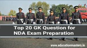 Top 20 GK Question for NDA Exam Preparation