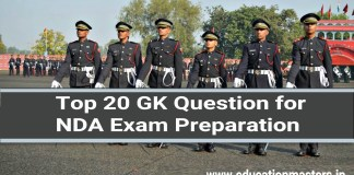 Top 20 GK Question for NDA Exam Preparation
