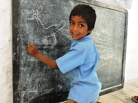 a-student-making-picture-in-government-school-of-india