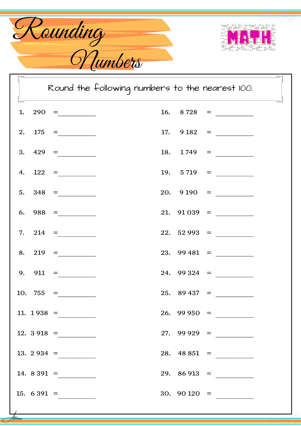 Grade 4 Math Worksheets Rounding Numbers