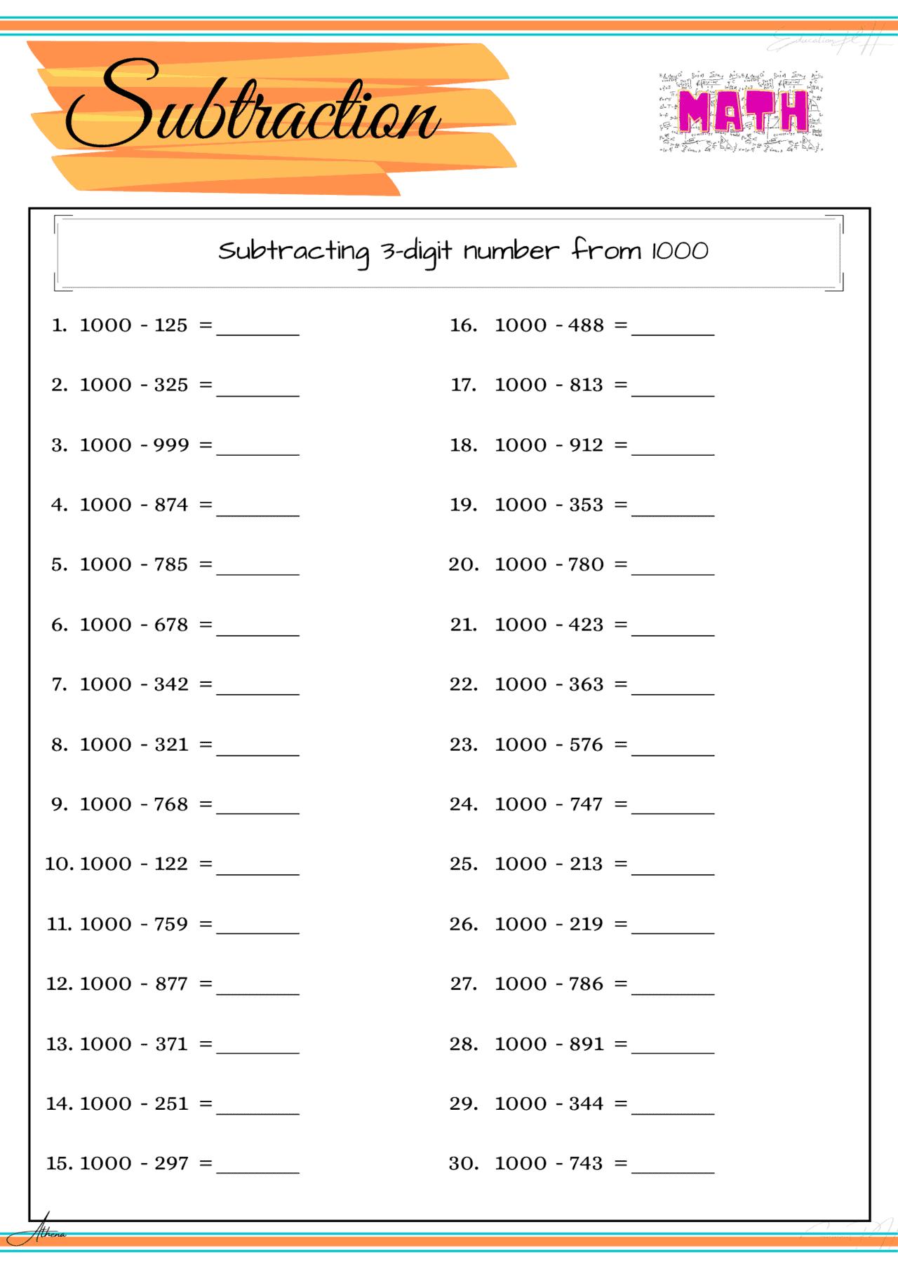 Grade 4 Math Worksheet Subtraction Part 4
