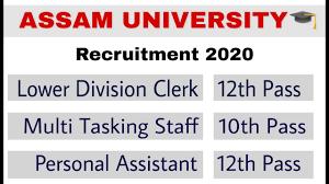 Assam University Recruitment 2020: असम यूनिवर्सिटी में कई पदों पर हो रही भर्ती