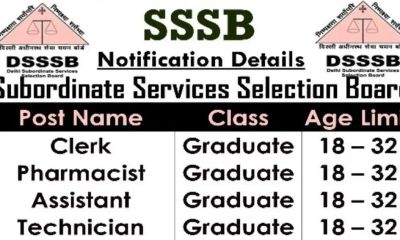 Recruitment Borad SSSB 1000 से अधिक पदों पर भर्ती 10वीं पास करें आवेदन