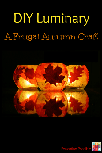 DIY Luminary made from mod podge, yellow and orange tissue paper with leaves