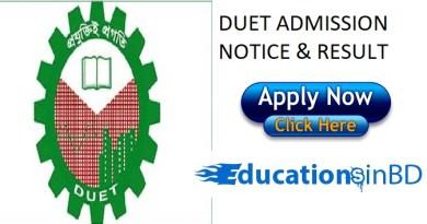 DUET Admission Test Notice Result For Session 2018-2019 www.duet.ac.bd