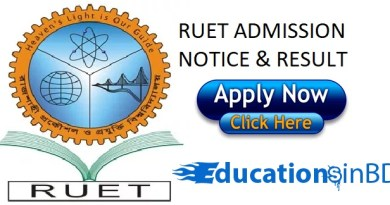 RUET Admission Test Notice Result For Session 2018-2019 www.ruet.ac.bd