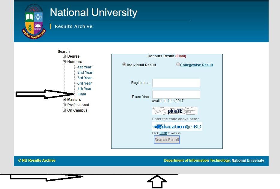 How to Check NU Honours 4th year CGPA Result By online?
