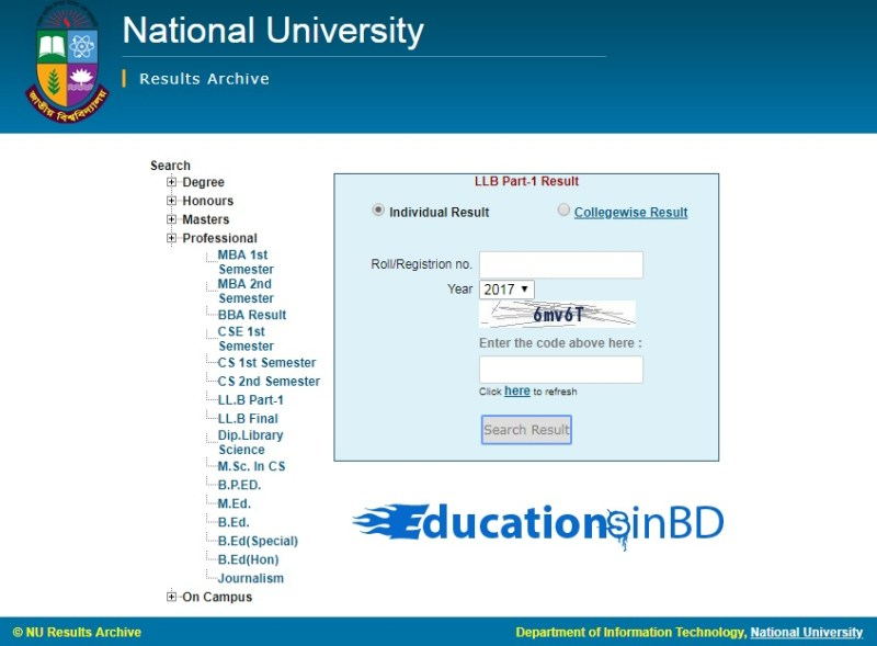 How to Check NU LL.B Part-1 Result By online?