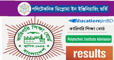 Polytechnic Diploma Admission Circular Result Session 2019