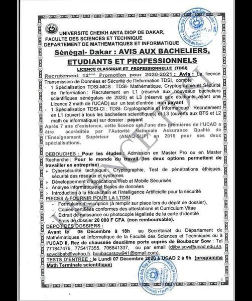 Concours d'entrée à la TDSI (Transmission de Données et Sécurité de  l'information) communément appelé Cryptologie. - Sénégal Education