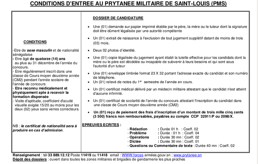 Conditions D'entree Au Prytanee Militaire De Saint-Louis (Pms)