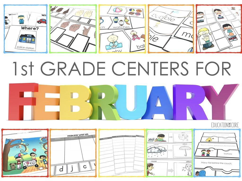 First Grade Literacy Centers For February