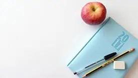 Teacher planner with apple