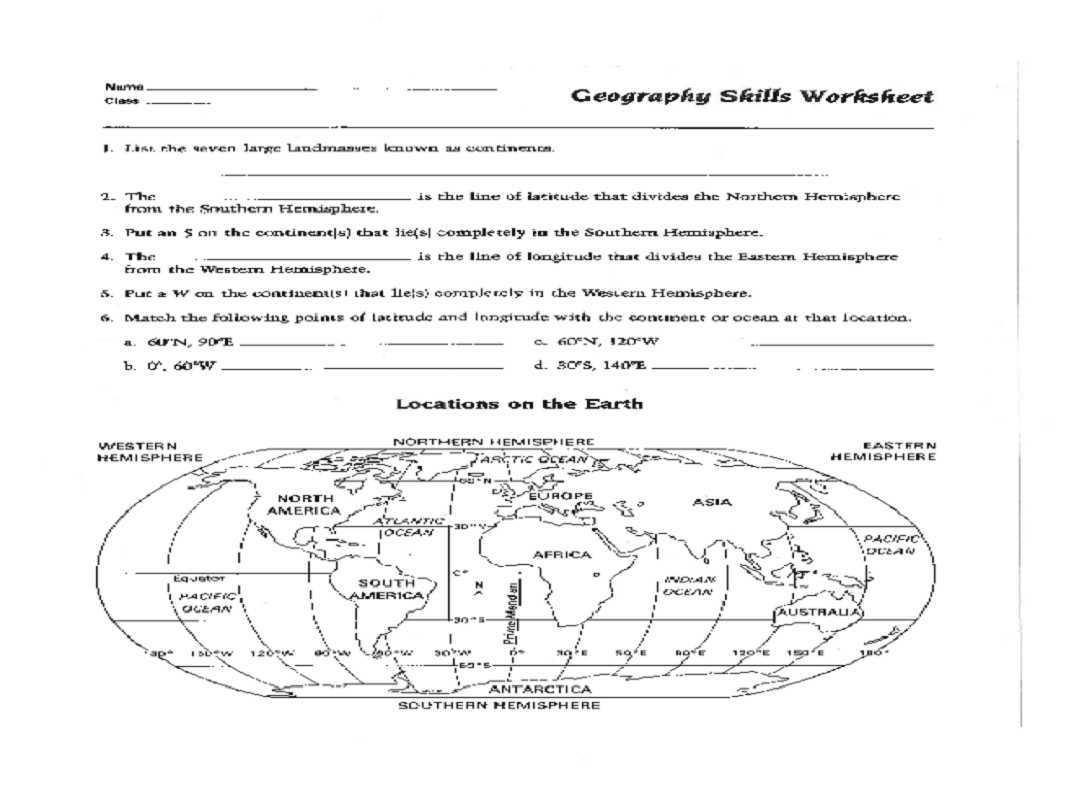 Geography Worksheets One For Studying