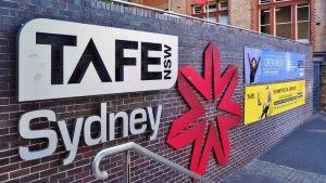 TAFE logo and building sign in Sydney.