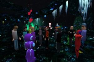 Educators in VR meeting in AltspaceVR Spirit Cave.