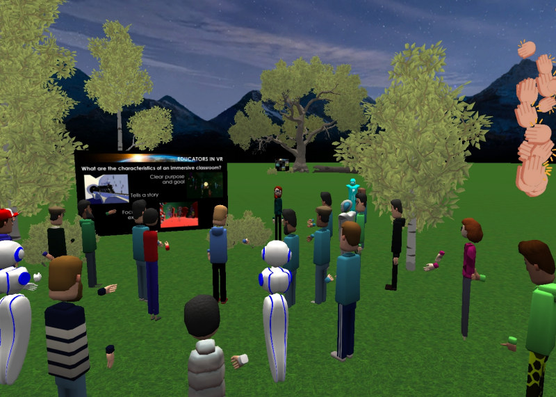 Outdoor presentation outside of Educators in VR Training Center