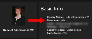 AltspaceVR username and email profile information.