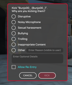 Moderation Kick Remove and Report from AltspaceVR.