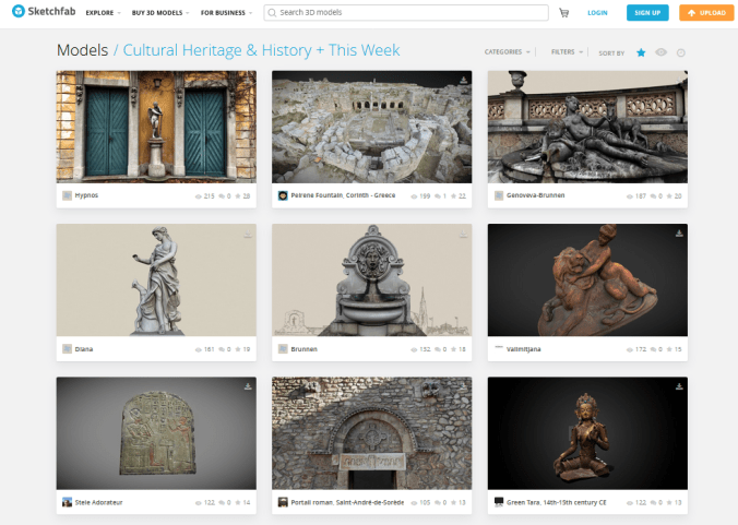 Sketchfab web page featuring cultural heritage 3D models.