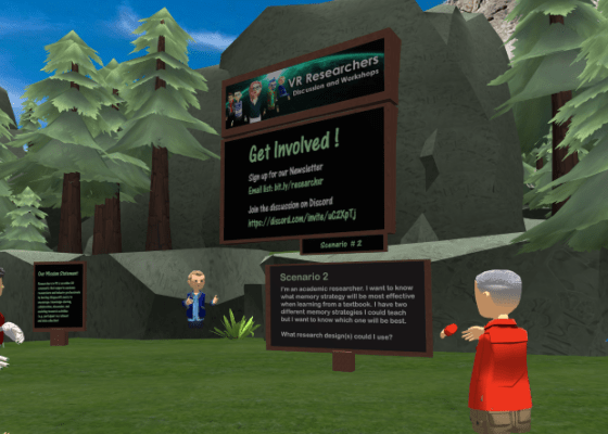 Anthony Chaston teaching Introduction to VR Research event in AltspaceVR.
