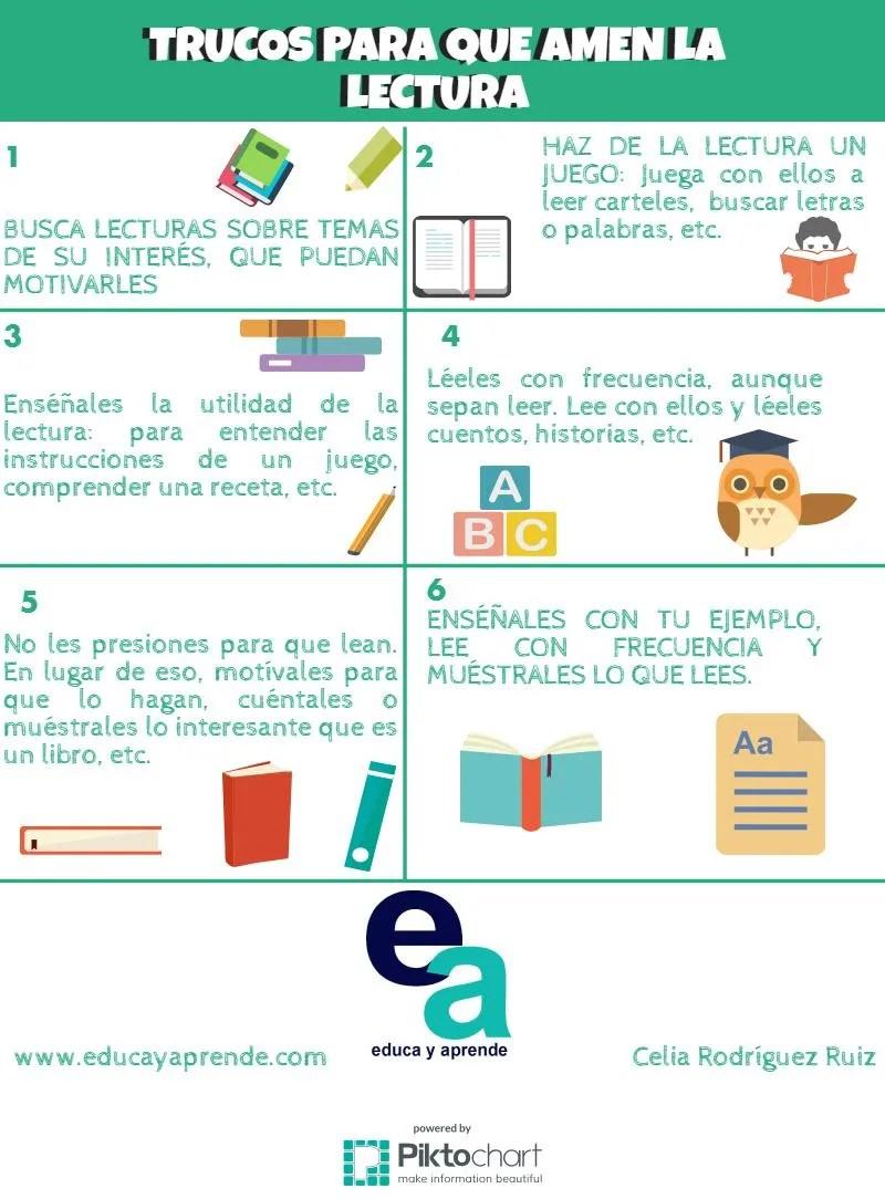 Infografía trucos para que amen la lectura